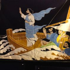 Chinese painting of Jesus calming the storm. I love this!