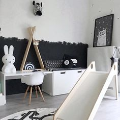 Monochrome scheme for a neutral kids' room.