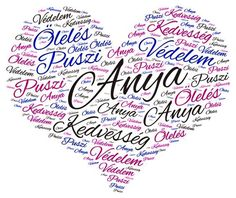 anyák napjára word cloud art created by SFJudit Mother's Day For Grandma, Mom Day, Word Cloud Art, Word Art, Grandma Quotes, Mothers Day Cards, Creative Cards, Kids Learning, Paper Cutting