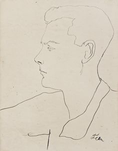 "A sketch of the British artist Christopher Wood (1901 - 1930) by Jean Cocteau. The young Englishman approximated Cocteau's ideal of the artist as painter-poet. In his tribute poem, 'Kit', Cocteau wrote: ""This limp of his is puzzling in an angel/The weight of only one foot on the earth."""