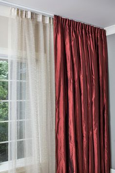 Solid burgundy silk drapes
