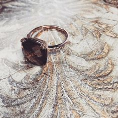 14K Rose Gold Ring with Smoky Quartz and by ChicJoaillerie on Etsy