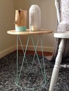 Metal table with Wooden Top by becscreationsandhome on Etsy