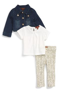 7 For All Mankind® Slub Tee, DenimJacket & Snake Print Skinny Jeans (Baby Girls) available at #Nordstrom