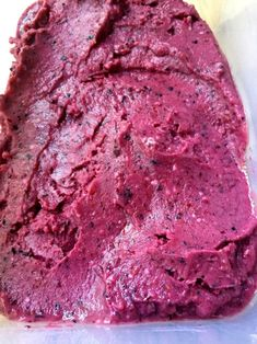 Easy Mixed Berry Sherbet ready to put in the freezer