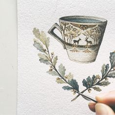 Watercolour Autumn teacup by Lily Seika Jones http://www.whitebrickwallgoods.com/