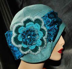 Vintage Chic Blue Turquoise Green Cloche Flapper Hat Chemo Derby Church | eBay