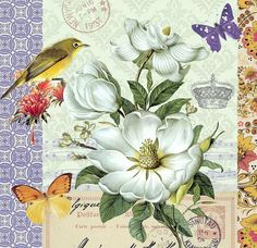 Large white flower (Magnolia?) with birds butterflies crown and postmarks.