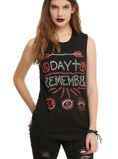 A Day To Remember Hand Drawn Girls Muscle Top, BLACK