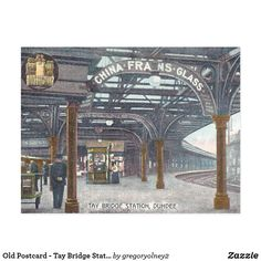 Old Postcard - Tay Bridge Station, Dundee Dundee City, Old Train Station, Old Postcards, Trains, Burns, Scotland, Cities, Bridge, Sketches