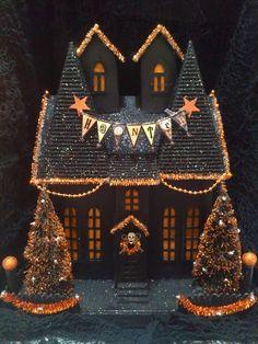 OOAK Light Up Halloween Like Department 56 Putz Haunted House Lighted Dept VIDEO. $100.00, via Etsy.
