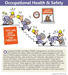 A workplace health and safety cartoon/comic, including an overview/summary of occupational health and safety (OH); for use in business presentations, training and development, academic environments, human resources, when coaching, in workplace/office meetings, etc.