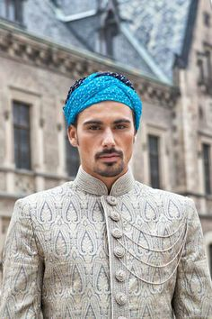 N-Nehru suit: A handsome Nehru suit, popular with the groom during weddings, is carefully stitched using the finest Terrywool, Merino wool or polyster and fits perfectly on a well physique groom from Manyavar #Shaadimagazine #IndianGroom