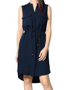 Allegra K Woman Drawstring Waist Single Breasted Sleeveless Dress Navy Blue M
