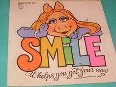 "Vintage 80s Miss Piggy Muppets Large Sticker ""Smile"", on Etsy."