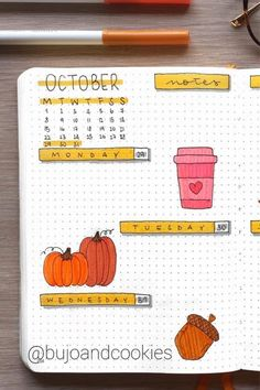 The best bullet journal weekly spread ideas and inspiration for October Bullet Journal Hacks, Bullet Journal Notebook, Blank Journal, Bullet Journal School, Bullet Journal Ideas Pages, Bullet Journal Layout, Bullet Journal Inspiration, Online Journal, Axolotl