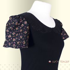 Peter Pan Collar Woman's Black top with glitzy teacup detail. Ladies T-Shirt and Puffed Floral Sleeves. Small-2XL. Lucy Teacup.