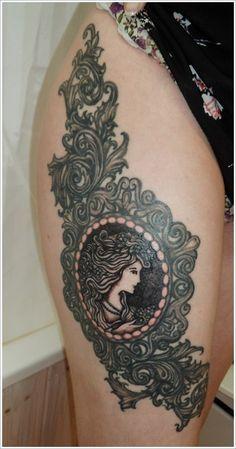 Cute Thigh Tattoos for Women: Glass Thigh Tattoos For Women ~ heledis.com Women Tattoo Design Inspiration