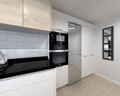 Cocina Santos Modelo Line Estratificado Blanco con  Encimera Granito Negro