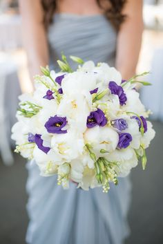 Bouquet: Peonies (happy life – happy marriage), Lily of the valley and Purple Lisianthus (appreciation). Photography: Ava Weddings | On SMP: http://www.StyleMePretty.com/little-black-book-blog/2014/02/03/brooklyn-botanical-garden-wedding/