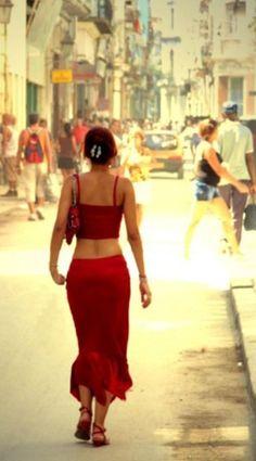 Red dress . Cuba