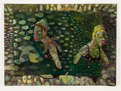 Marlene Steyn, 'Sunken synced sisters' Oil, plasticine and mixed media on unstretched linen, 142 x Plasticine, Mixed Media, Sisters, Oil, Painting, Painting Art, Paintings, Painted Canvas, Drawings