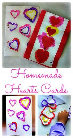 Hearts Homemade cards for Valentine's day #valentine'sdaycrafts