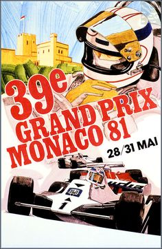 Monaco Grand Prix 1981 Vintage Poster Vintage Art Print Retro Style Vintage Car…