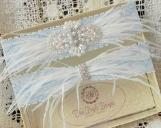 Blue Lace Bridal Garter Set with Ostrich Feathers