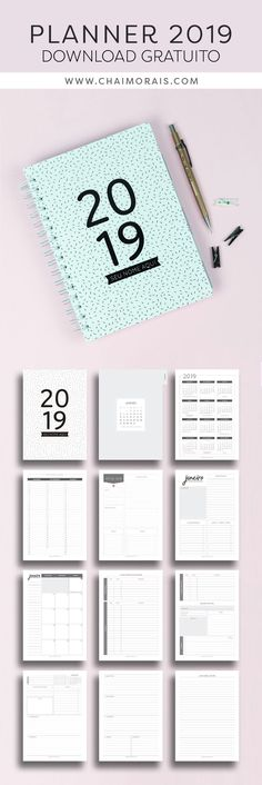 Planner Organization 2019 - Planner 2019 Minimalista baixe e imprima Study Planner, Free Planner, Planner Layout, Planner Template, Planner Pages, Weekly Planner, Happy Planner, Printable Planner, Planner Stickers