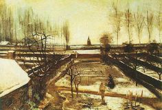 Vincent van Gogh: The Parsonage Garden at Nuenen in the Snow. Nuenen: January, 1885 - Oil on canvas on panel. Los Angeles: The Armand Hammer Museum of Art