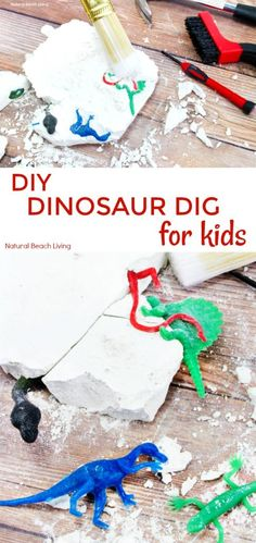 All kids LOVE dinosaurs! Let them use their imagination and make a dinosaur dig excavation! This DIY dinosaur excavation dig is super easy to make. The perfect and engaging homemade geology dig kit that kids of all ages would enjoy! Dinosaur Crafts Kids, Make A Dinosaur, Dinosaur Activities, Dinosaur Gifts, The Good Dinosaur, Party Activities, Fun Activities For Kids, Dinosaurs For Kids, Kids Crafts