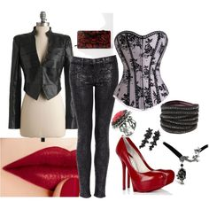Not necessarily this outfit, but the idea of the outfit - corset-style top, dark jeans, jacket, and accessories.