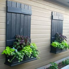 from the kids' old fort make great faux shutters for window boxes.wood from the kids' old fort make great faux shutters for window boxes. Garage Windows, Garage Walls, Window Box Flowers, Window Boxes, Window Ideas, Window Frames, Window Wall, Faux Window, Old Shutters