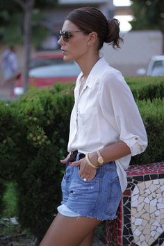 Denim shorts & a white button up
