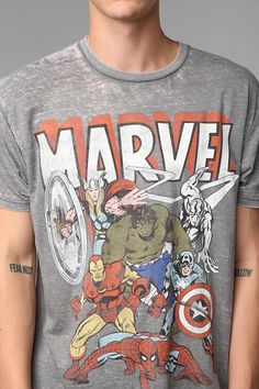 I dig this. Different than the usual take on hero tees. UrbanOutfitters.com > Marvel Gang Burnout Tee