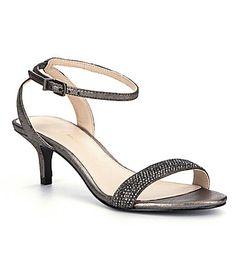 Onex Lucie Metallic Leather Rhinestone Embellished Slingback Dress Sandals 3LVvC