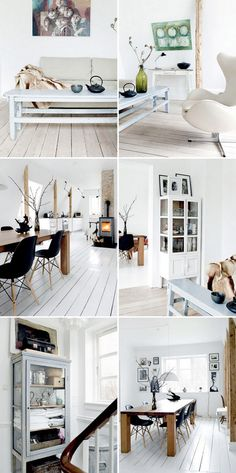 Especially the dining room - all white and timber and black.