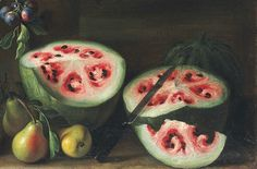 """The Evolution of the Watermelon, Captured in Still Lifes Giovanni Stanchi, """"Watermelons, peaches, pears and other fruit in a landscape"""" (1645-72) (detail), oil on canvas (courtesy Christie's)"""