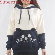 Japonês Mori carta capuz gato bonito de Kawaii dos desenhos animados camisola Neko Atsume Hoodies mulheres camisola(China (Mainland))