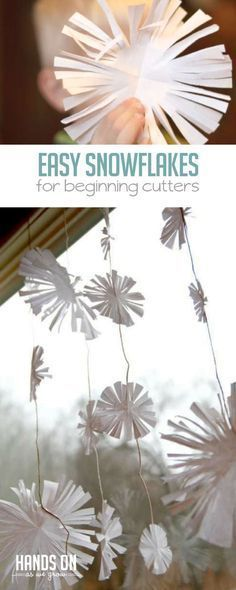 Make These Easy Snowflakes for a Snowy Garland If your kids str. Make These Easy Snowflakes for a Snowy Garland If your kids struggle with cutting snowflakes the tradition way, these are easy snowflakes to make. Still with cutting, but a lot easier! Snowflakes For Kids, Snowflakes Art, Snowflake Craft, Snowflake Garland, Cutting Activities, Camping Activities For Kids, Snow Theme, Winter Theme, Winter Crafts For Kids