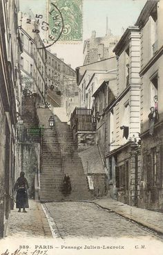 """, Belleville / Ménilmontant, the staircase of the passage Julien-Lacroix joining that of the rue Vilin, at the foot of which was the bistro-bougnat, """"Au Repos de la Montagne"""". The island was completely destroyed in the sixties / eighties. Paris 1900, Old Paris, Vintage Paris, Paris Photography, Vintage Photography, Tour Eiffel, Old Pictures, Old Photos, Julien Lacroix"""