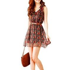 Self Tie Bowknot Shoulder Flower Print #dress #fashion #outfit