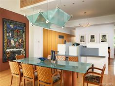 Contemporary dining - light fixture - glass table - Quail West