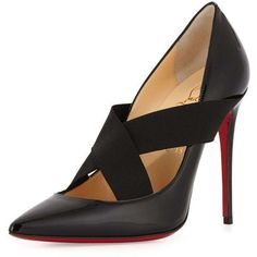 Christian Louboutin Sharpstagram Cross-Strap Patent Red Sole Pump ($755) ❤ liked on Polyvore featuring shoes, pumps, heels, black, high heel shoes, famous footwear, black stilettos, black pointy-toe pumps and black shoes