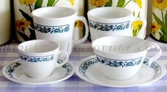 Old Town Blue Mugs, Cups & Saucers - Nana's pattern. These are our everyday dishes. I just found out there is a demi-tasse cup set. Must find! Corelle Patterns, Corelle Dishes, Child Proof, Blue Onion, Everyday Dishes, Vintage Dishes, Tupperware, Pyrex, Old Town
