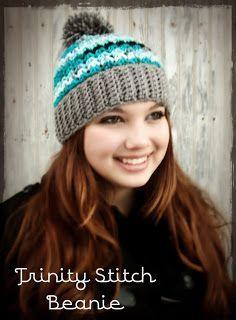 Trinity Stitch Beanie   * with optional pom-pom *       Trinity Stitch Beanie * with optional pom-pom*  Materials : *1 skein worsted weig...