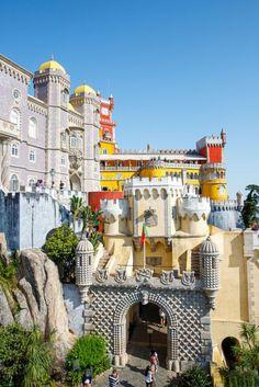 The outside of the Pena Palace Sintra, Portugal Sintra Portugal, Faro Portugal, Algarve, Portugal Vacation, Portugal Travel, Palaces, Verona, Portuguese Royal Family, Pena Palace