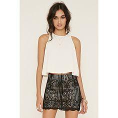 Forever 21 Women's  Ornate Overlay Skirt ($20) ❤ liked on Polyvore featuring skirts, mini skirts, short skirts, scallop hem skirt, overlay skirt, crochet skirt and short mini skirts