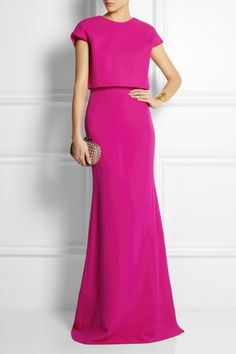 Victoria BeckhamCropped-Overlay Wool and Silk-Blend Gown. It's so fine and sleek and polished and pink.